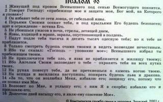 Молитва о живой помощи псалом 90 на русском